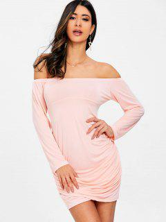 Ruched Off Shoulder Bodycon Dress - Pink M