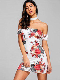Robe Courte Florale à épaules Dénudées Avec Col Ras Du Cou - Blanc Xl