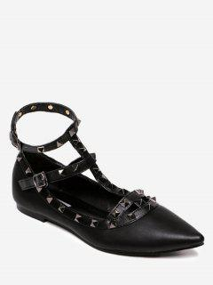 Ankle Strap Pointed Toe Flats - Full Black 38