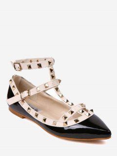 Ankle Strap Pointed Toe Flats - Black White 36