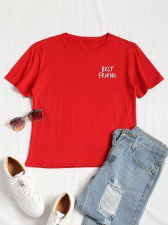 Camiseta De Manga Corta Con Estampado De Lema - Rojo L