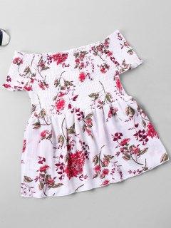 Floral Print Shirred Bust Off Shoulder Blouse - White L