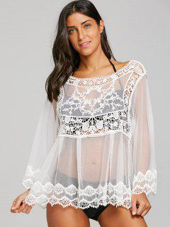 Crochet See Thru Cover Up Top - Blanco