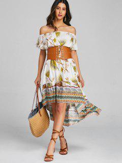 Tribal Asymmetrical Off Shoulder Midi Dress - Yellow L