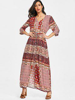 Tribal Floral Button Up Maxi Dress - Red L