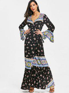 Floral Ruffle Wrap Maxi Dress - Floral L
