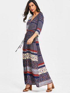 Slit Floral Button Up Maxi Dress - Floral L
