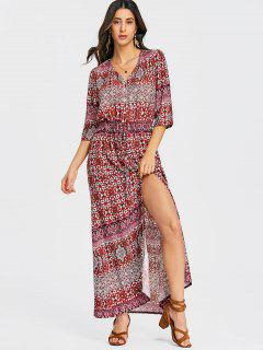 Slit Tribal Button Up Maxi Dress - Red L