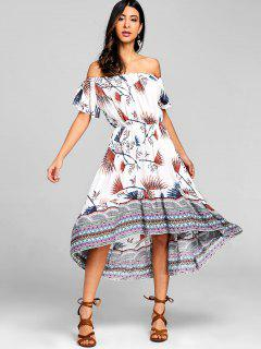 Tribal Asymmetrical Off Shoulder Midi Dress - White L