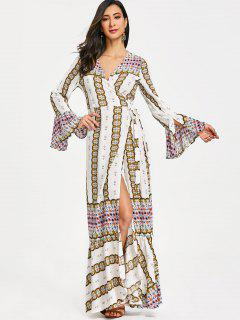 Printed Wrap Ruffles Maxi Dress - White L