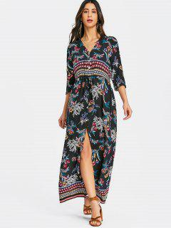 Button Up Drawstring Slit Maxi Dress - Black L
