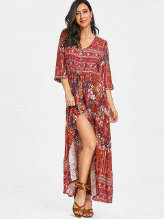 Floral Button Up Slit Maxi Dress - Red M