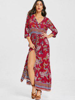 Button Up Drawstring Slit Maxi Dress - Red L