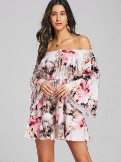Ausgeschnittes Blumen Schulterfrei Minikleid - Pink 2xl