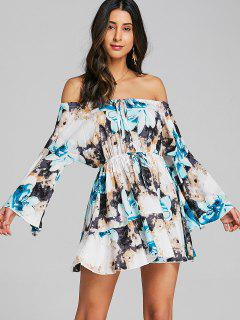 Cut Out Floral Off Shoulder Mini Dress - Blue Xl