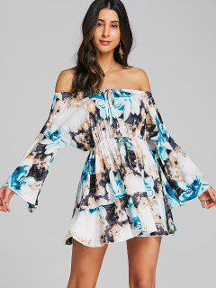 Cut Out Floral Off Shoulder Mini Dress - Blue 2xl