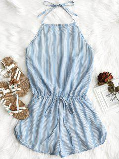 Halter Open Back Striped Romper - Stripe M