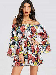 Floral Bell Sleeve Off Shoulder Mini Dress - Floral L