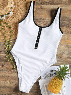 Faux Button Ribbed High Cut Swimsuit - White M