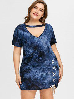 Plus Size Cut Out Tie Dye Dress - Cerulean 5xl