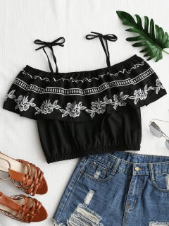 Overlay Embroidered Cold Shoulder Top - Black L