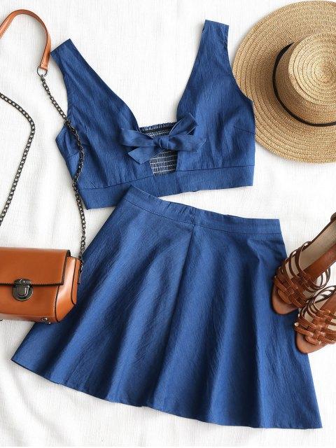 Hauteur de bowknot avec jupe de plage - Bleu S Mobile