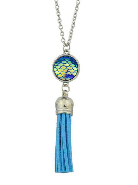 trendy Mermaid Scales Tassel Necklace - BLUE  Mobile