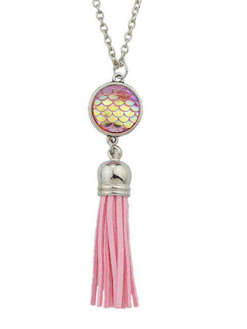 Meerjungfrau Skalen Fransen Halskette - Rosa  Mobile