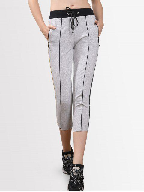 women Drawstring Striped Cropped Pants - LIGHT GRAY M Mobile