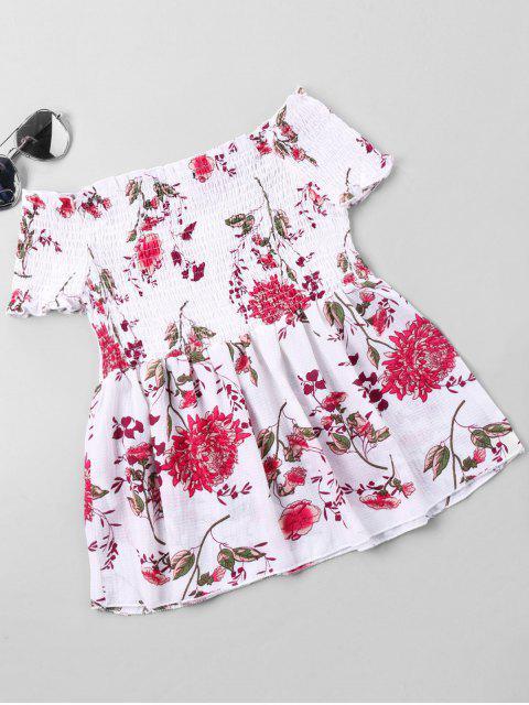 affordable Floral Print Shirred Bust Off Shoulder Blouse - WHITE L Mobile