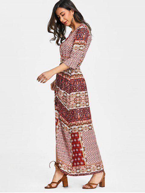 fashion Tribal Floral Button Up Maxi Dress - RED M Mobile