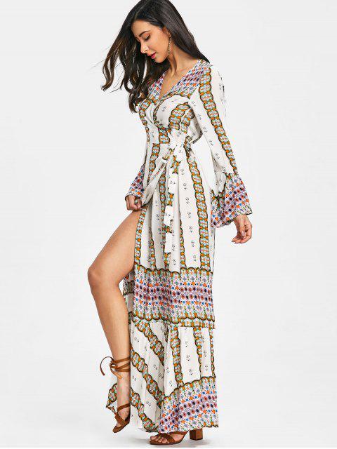 ladies Printed Wrap Ruffles Maxi Dress - WHITE L Mobile