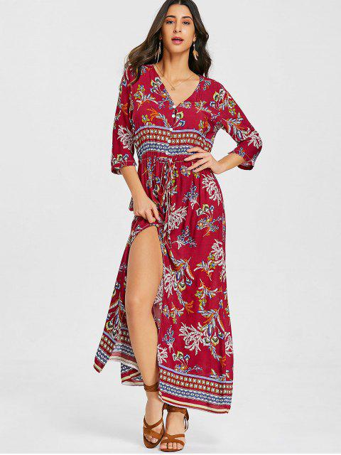 online Button Up Drawstring Slit Maxi Dress - RED 2XL Mobile