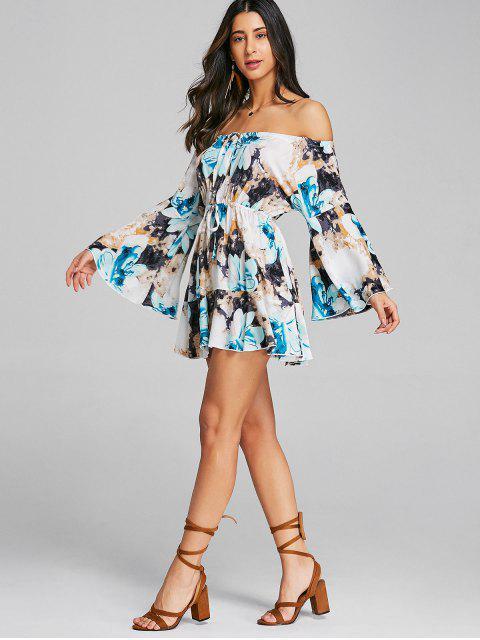Mini vestido floral fuera del hombro - Azul M Mobile