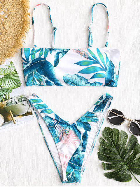 Tropisches Blatt hohe Schlitz Bikini Set - Weiß M Mobile