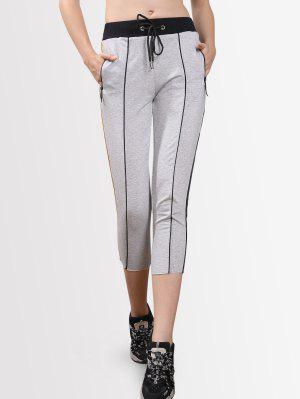 Drawstring Striped Cropped Pants - Light Gray M
