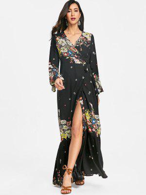 Flared Sleeve Wrap Maxi Dress - Black L