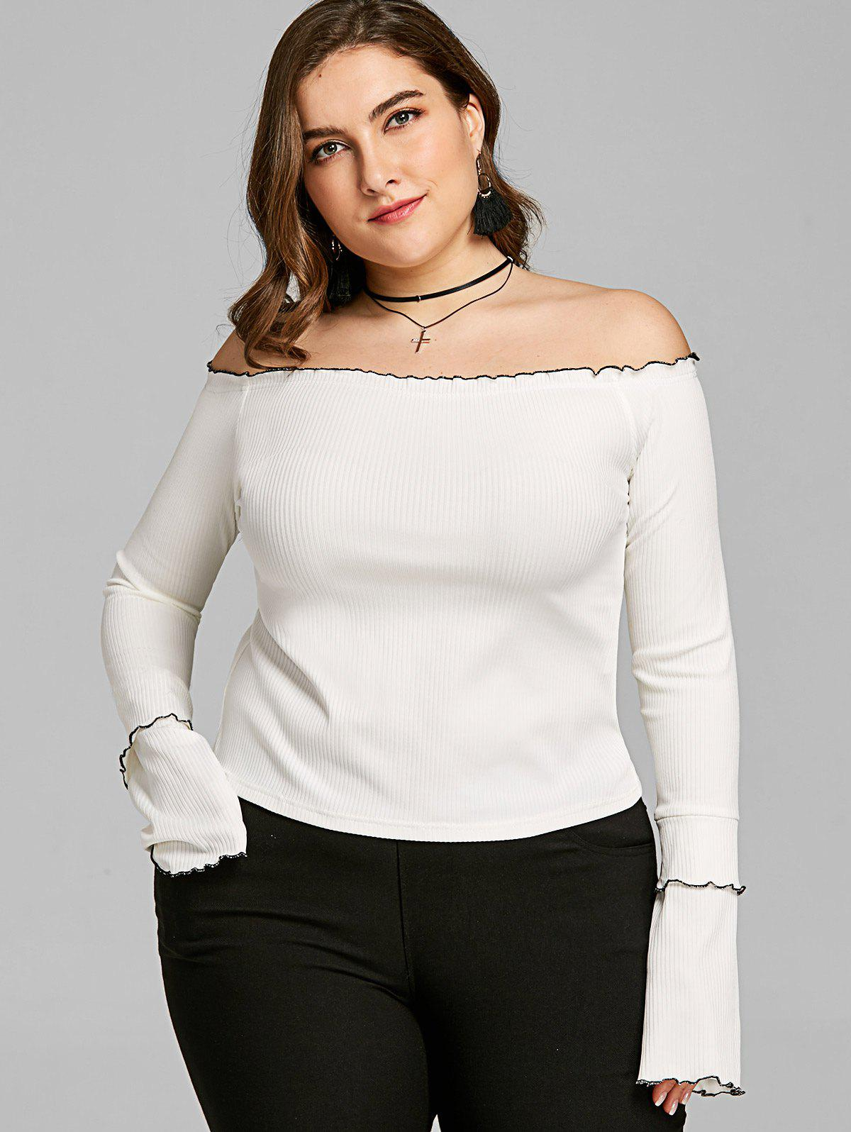 Plus Size Lettuce Edge Off Shoulder Top 253771203