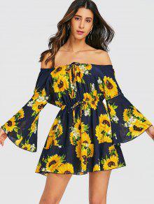 فستان  مصغرة عباد الشمس مفتوح الكتف - الأزهار M