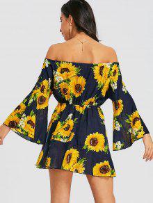Floral Hombros M Sunflower Sin Minifalda q1nPSRvwxt