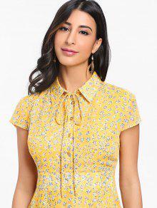 Floral Vestido Amarillo Estampado Maxi S Cintura Alta qvOSw68WOI