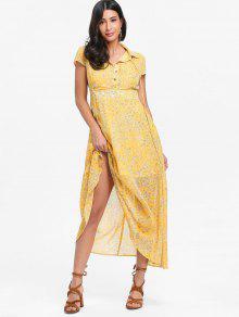 فستان ماكسي عالية الخصر طباعة الأزهار - الأصفر L