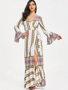 فستان كشكش طباعة لف ماكسي - أبيض L