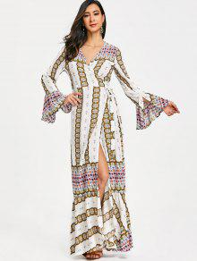 فستان بنمط لف من الكشكشة - أبيض 2xl