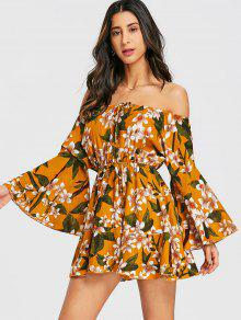 فستان مزهر الرباط مفتوح الكتف   - الأزهار M