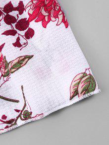 Blanco Estampado Shirred Hombro Off S Floral Bust Blusa nYzqw486Y