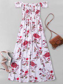 قبالة الكتف عالية سبليت الزهور فستان ماكسي - أبيض Xl