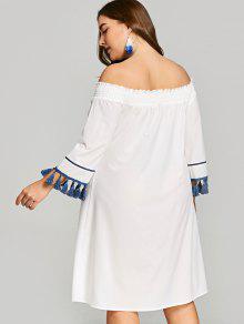 87ed6dc3d7 29% OFF] 2019 Plus Size Off Shoulder Smocked Tassels Dress In WHITE ...