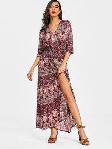 فستان طويل  مع الرباط زر فوق مزهر  - الأزهار M