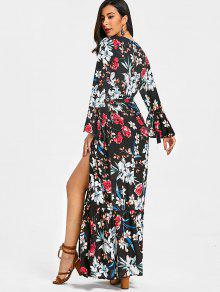 e96d7c8cac15 29% OFF] 2019 Flared Sleeve Floral Wrap Maxi Dress In BLACK | ZAFUL